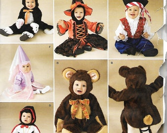Simplicity 2557 Babies Costume Pattern, Pirate, Princess, Witch, Devil, Teddy Bear And Cat, Size XS-L, UNCUT