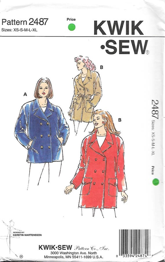Kwik Sew 2487 Misses Double Breasted Jacket Sewing Pattern   Etsy
