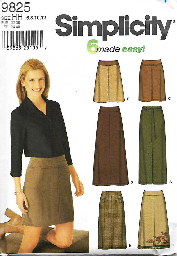 Simplicity 9825 Misses 6 Made Easy Skirts Sewing Pattern Slim Etsy
