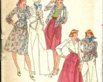 VTG Butterick 4169 Misses Shirt, Skirt and Wide Straight Leg Pants Pattern, Size 10 UNCUT