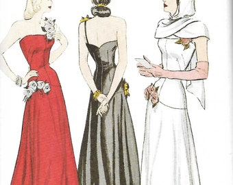 Retro 1948 Butterick 6408 Misses Dress And Hooded Scarf Sewing Pattern, Evening Dress Or Bridal Dress, Size 6-8-10 & 18-20-22, UNCUT