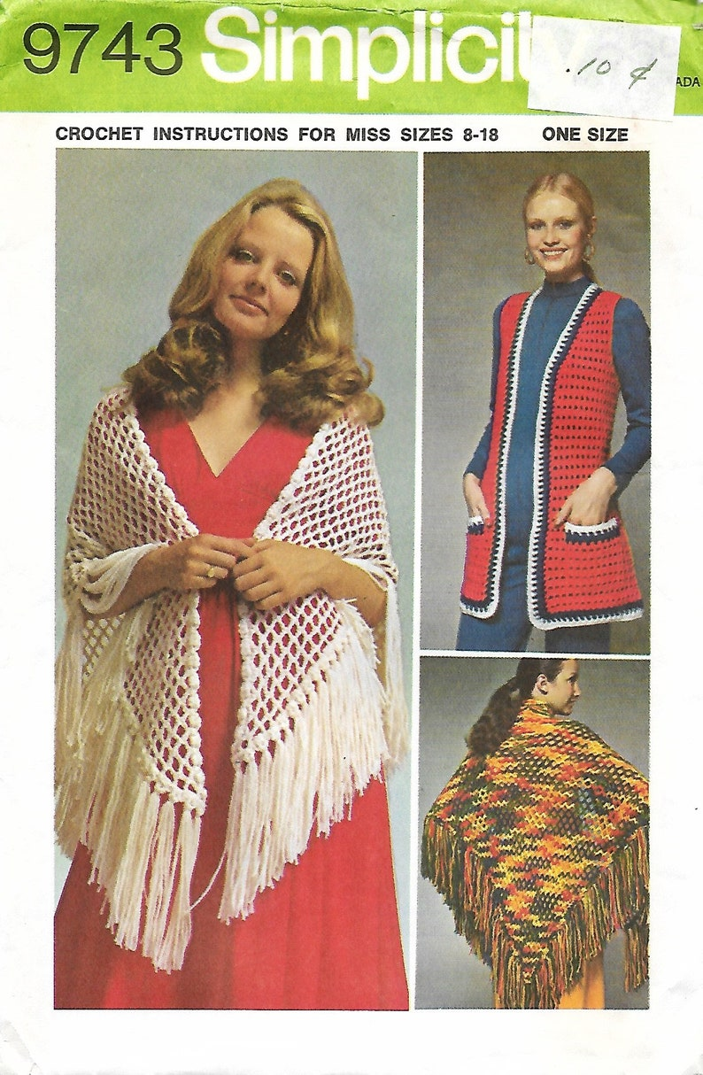feb23c9cae0 1970 s Simplicity 9743 Crochet Instructions For Misses