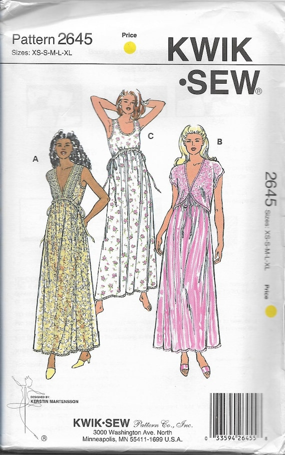 Kwik Sew 2645 Misses Gowns And Bolero Nightgown Bed Jacket   Etsy