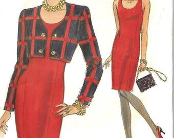 Vogue 8353 Misses/Miss Petite Short Jacket & Sheath Dress Pattern, Size 18-20-22, UNCUT