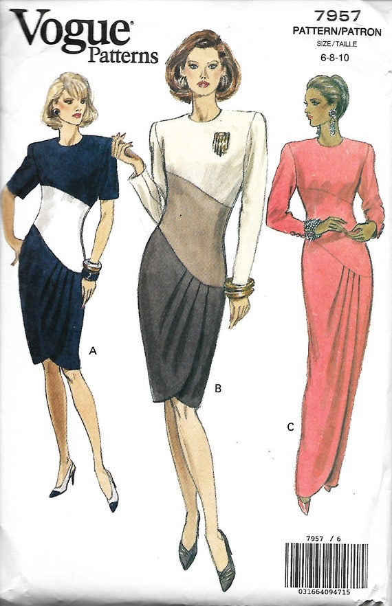 Vogue 7957 Misses Fitted Straight Dress With Tulip Skirt And Etsy