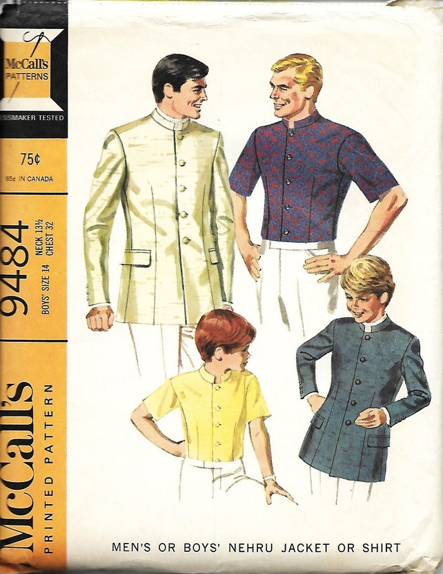 1960 McCall 9484 jungen Nehru-Jacke oder Hemd Schnittmuster | Etsy