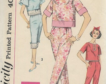 1960's Simplicity 3205 Misses Simple To Make Pajamas Pattern, Two Lengths, Bust 32