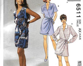 McCall's 6511 Misses Mock Wrapped Culotte Dress Pattern, Size 4-6-8, UNCUT