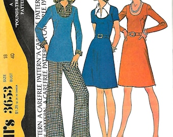 Vntg McCall's 3653 Misses Dress Or Top And Pants Pattern, Size 18, Bust 40, UNCUT