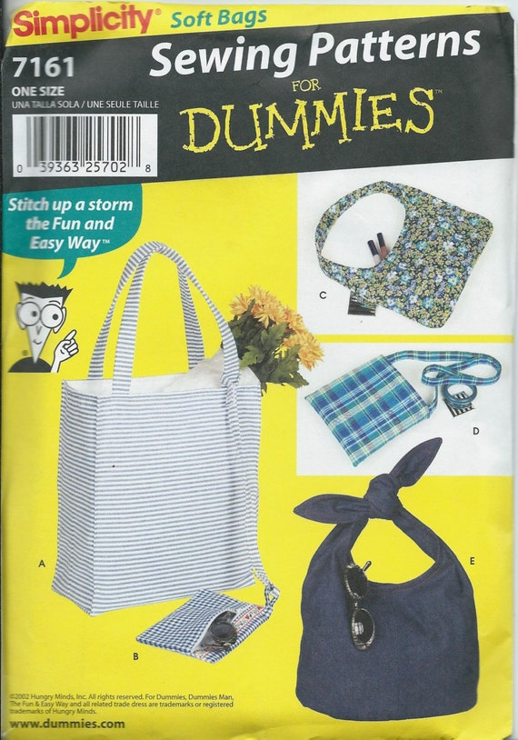 Simplicity 7161 Sewing Patterns For Dummies Handbags Tote Etsy