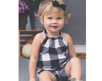 0b1167743ac6 Black and White Plaid Romper. Buffalo Check Sunsuit for Babies