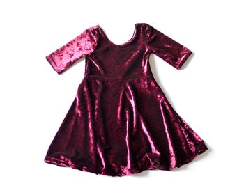 8343fe869b Crushed Velvet Swing Dress. Fall Dress. Kids Dresses. Toddler Dresses.  Cranberry Velvet Dress. Girls Long Sleeve Dress.