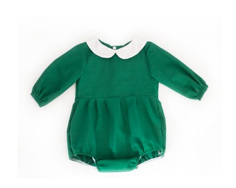 ef87e9f25924 Green Peter Pan Collar Romper. Christmas Romper. Green Cotton Romper. Baby  Girls Clothing. Handmade Romper.