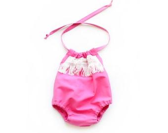 Hot Pink Fringe Romper. Valentine Romper for Valentines Rompers for Babies, Toddlers, Girls.
