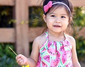 Watermelon Romper. Pink and Green Watermelon Romper for Spring Rompers for Babies, Toddlers, Girls.
