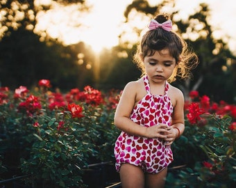 Valentine Heart Romper. Red, Pink and White Heart Print Romper for Valentines Rompers for Babies, Toddlers, Girls.