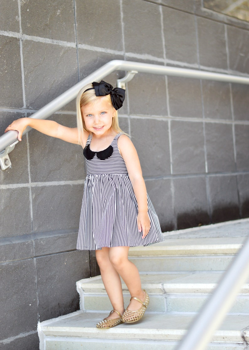 28db7c498315 Stripe Collar Dress. Black and White Stripe Dress with Peter