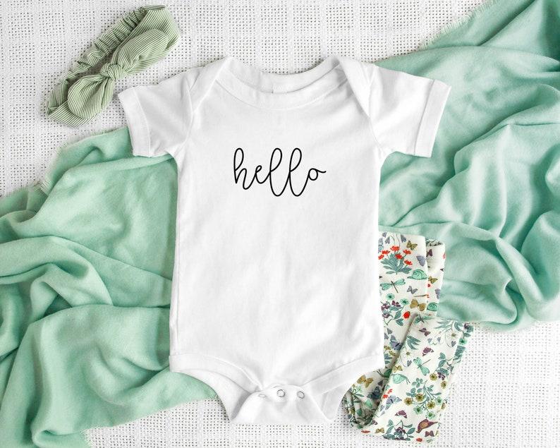 Hello Tee Namaste shirt for Babies. Baby Gifts Namaste Bodysuits Bonjour Shirt Newborn Outfit Hello Bodysuit