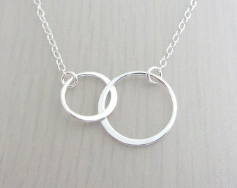 Sterling Silver Linked Circle Necklace, Double Ring Necklace, Infinity Circle Necklace, Mother Daughter Necklace, Best Friend Gift