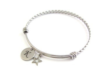 Hollow Star Charm Stainless Steel Bangle, Initial Bangle, Personalised Letter Charm Bracelet, Celestial Bangle, Space Gift, Astronomy Gift