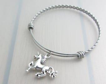 Unicorn Charm Stainless Steel Bangle, Silver Unicorn Charm Bracelet, Adjustable Twist Bangle, Fantasy Stackable Bracelet, Fantasy Gift