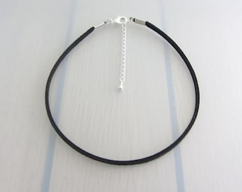 Plain Black Faux Suede Choker Necklace, Adjustable Choker, Minimalist Jewelry, Dainty Necklace, Simple Choker, Gift For Friends, For Her