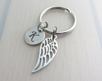 In Remembrance Keychain, Angel Wing Bag Charm, Letter Keychain, Personalised Keyring, Custom Initial Purse Clip, Loss Keyring, Gift For Her