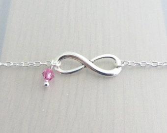 Infinity Charm Bracelet, Personalised Birthstone Crystal Bracelet, Eternity Bracelet, Custom Silver Plated Bracelet, Valentines Gift