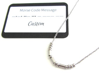 Stainless Steel Custom Morse Code Necklace, Personalised Name Necklace, Secret Message Necklace, Gift For Friend, Stocking Stuffer For Her