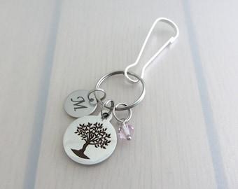 Tree Bag Charm, Letter Handbag Charm, Personalised Birthstone Crystal Purse Clip, Custom Stainless Steel Initial Bag Charm, Nature Gift