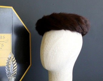 Vintage Ladies Mink and Black Velvet Pill Box Style Hat
