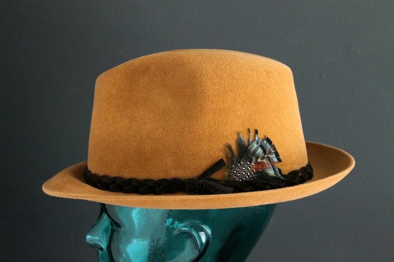 58962f1e9d1ec Vintage Dobbs Mens Hat Homgurg or Fedora Style Hat Camel Brown