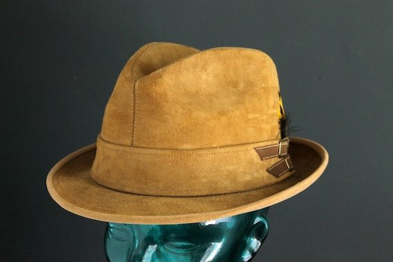 8bf4fd89e9f Vintage Dobbs Mens Hat Fedora Style Hat Tan Suede Leather Hat