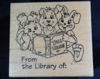 "Art Impressions Bookplate Library Rubber Stamp ""From the library of"" Wood Mounted Book Lover Gift, Ex Libris, For Teachers Classroom"