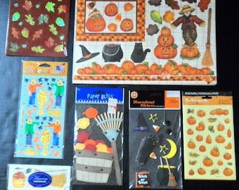 Halloween Scrapbook Lot 7 Stickers, Dimensional Diecuts, Card Making Embellishments, 190+ count Autumn Scrapbooking, Seasonal Fall, Harvest