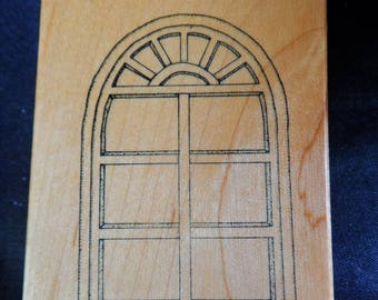 Art Impressions Rubber Stamp Arched Window Frame with Panes & Shelf Wood Mounted for house, building, scrapbooking, papercrafting, DIY cards