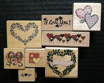 WITH LOVE HEART Valentine Card Back Gift Tag Anita/'s NEW Wood Craft RUBBER STAMP