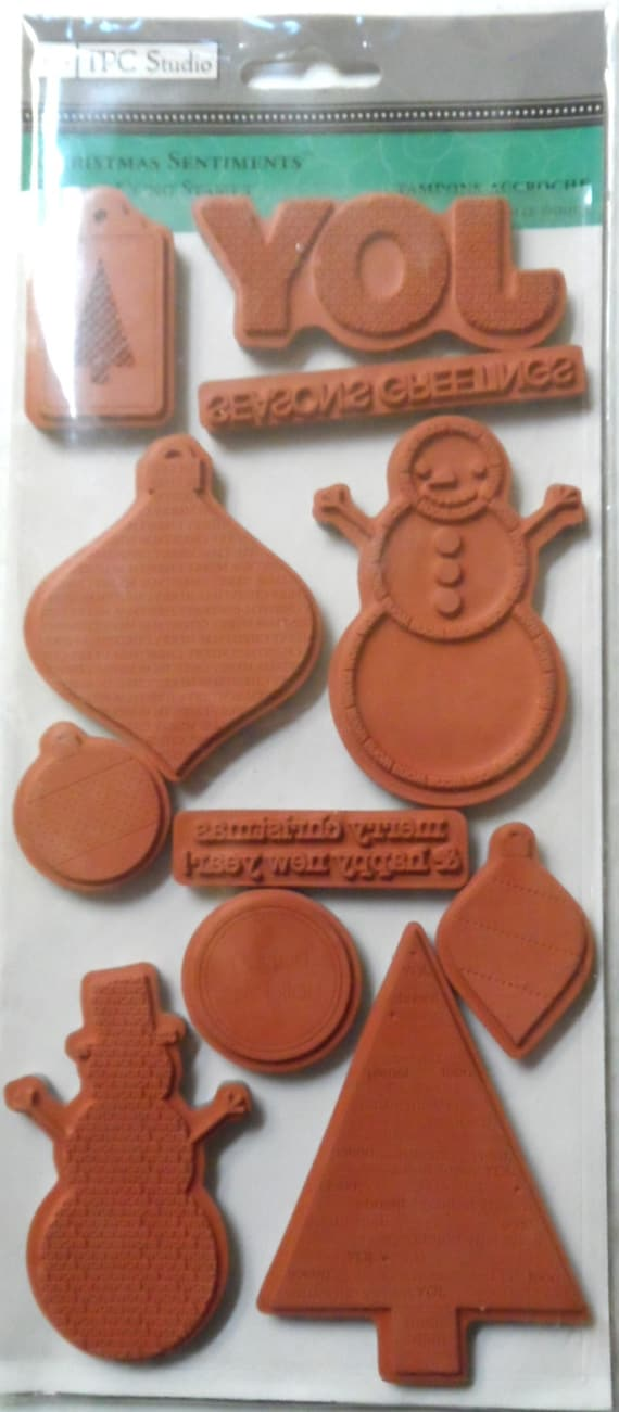 TPC Studio Cling Rubber Stamps Christmas Sentiments 11 piece   Etsy
