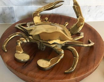 Vintage Crab Huge Brass Figurine Loose Change Large Beachy Crab Catch All  Foyer Key Tray Hollywood Regency Figurine