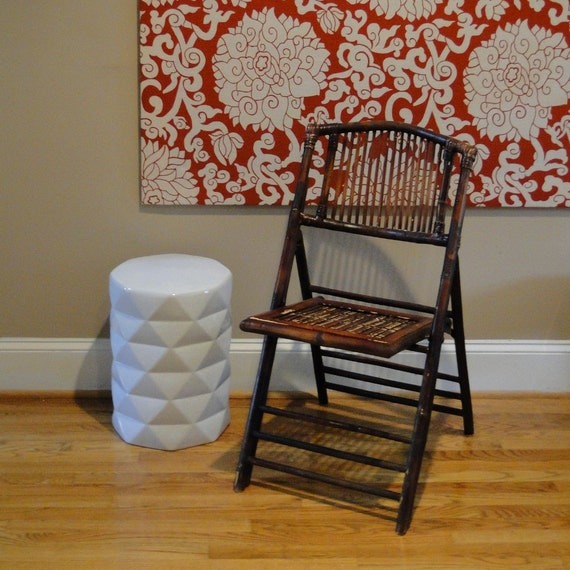 vintage folding chair bamboo rattan folding seat bohemian chic