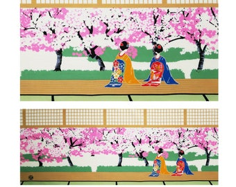 japanese geisha art, japanese tenugui fabric memoirs of a geisha, tenugui maiko wrapping cloth, japanese geisha noren, geisha girl tapestry