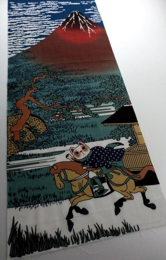 Japanese Washcloth Tenugui Manekineko Aka Fuji Japan Import