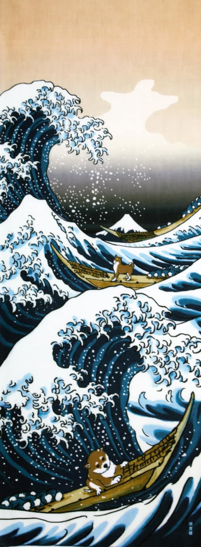 TenuguiRideau De ShibaAkita Pour Noren Murale ChienDécoration Chien Ken InuTissu Amateurs Grande VagueLes Tenugui JaponaisTsunami eoxBrdC