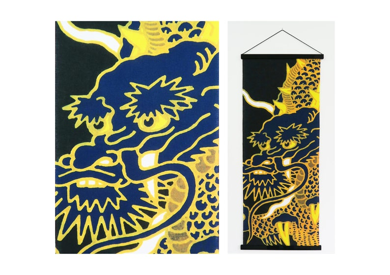 Dragon art, japanese dragon tenugui fabric, chinese dragon on a wall  tapestry, original dragon figure, japanese wall decoration, noren