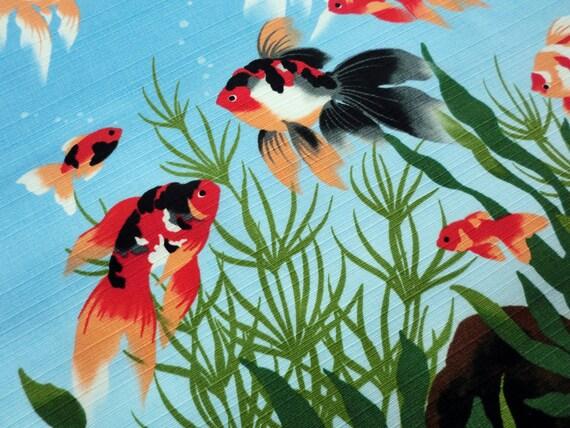 Tissu furoshiki japonais poisson d'or, kingyo emballage furoshiki emballage kingyo coton, tissu de poissons d'or de courtepointe japonais kawaii, furoshiki eco sac dbb0ee