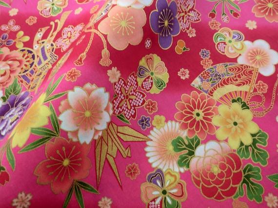 japanische blumen kimono stoff baumwolle fat quarter quilt etsy. Black Bedroom Furniture Sets. Home Design Ideas