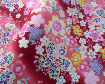 Red floral japanese tradicional cotton fabric, fat quarter, quilt, kimono japanese floral, pink cotton fabric, made in japan sell by yard