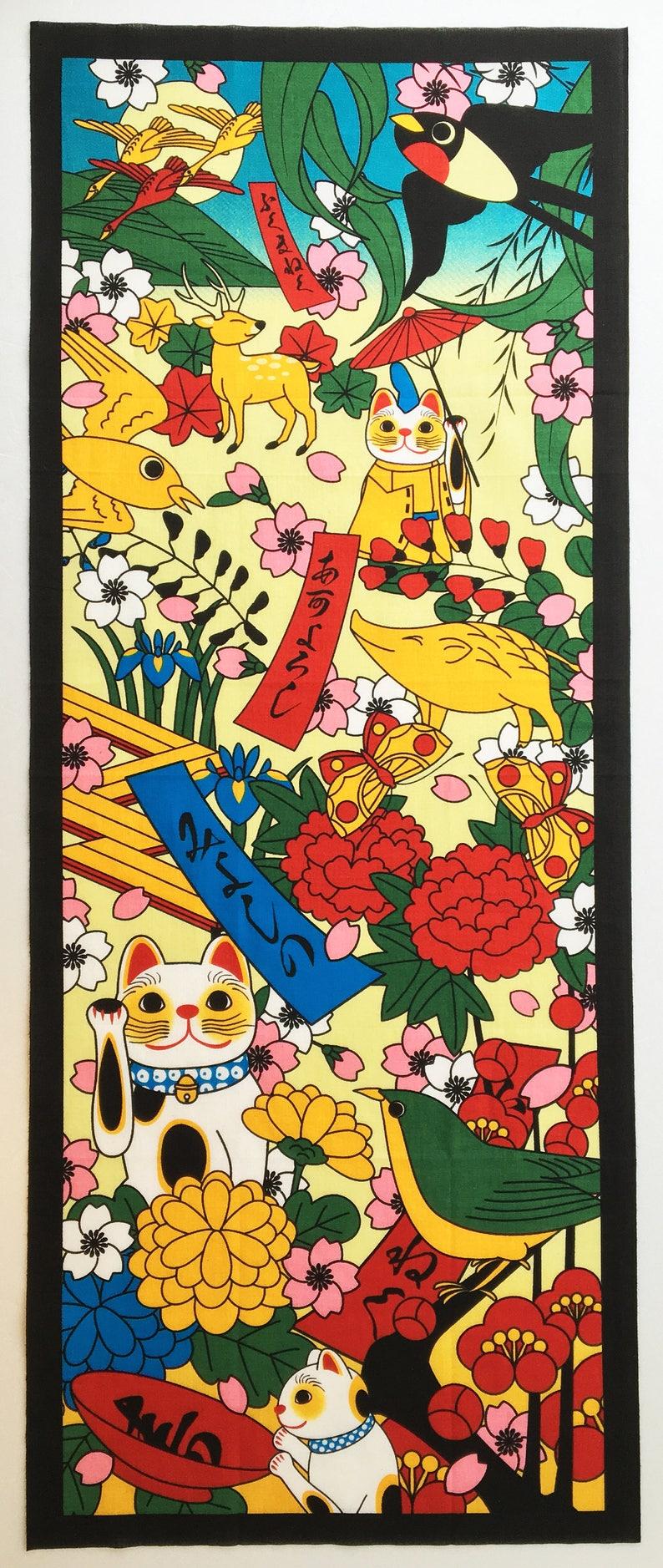 Japanese fabric Tenugui Maneki-neko Fortune Cats cat and flowers noren curtain kawaii fabric japanese tenugui cat home decor, cat fabric