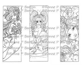 IMG051 Mermaid Bookmarks 3 To Color Your Own Way Fairy Digital Stamp Instant Download Digi Coloring Page