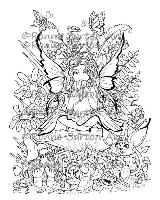 Garden fairy coloring pages ~ A Magic Garden Coloring Page Printable Fairy Big Eye | Etsy